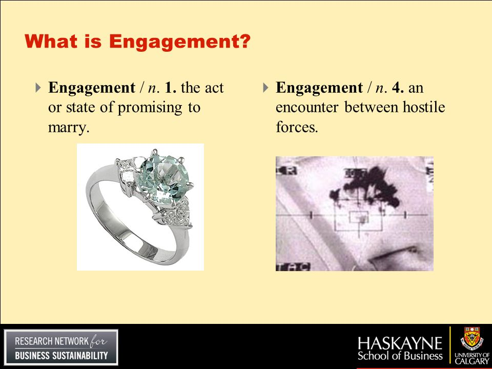 What is Engagement. Engagement / n. 1. the act or state of promising to marry.