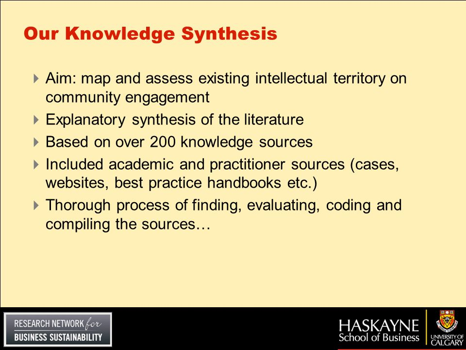 Our Knowledge Synthesis