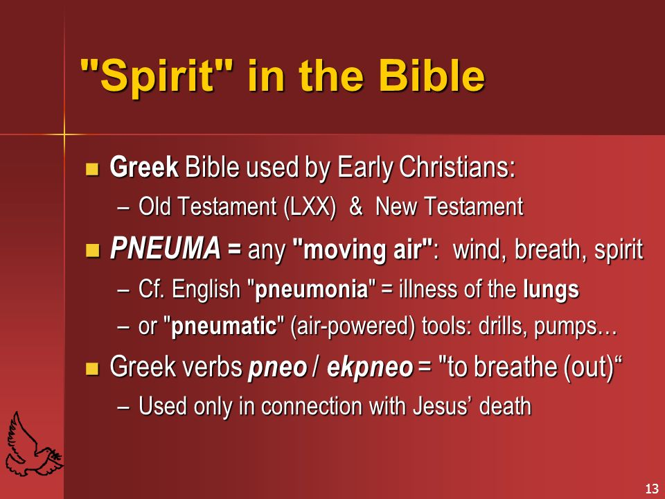 Spirit in the Bible PNEUMA = any moving air : wind, breath, spirit