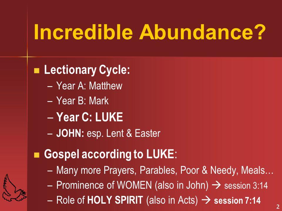 Incredible Abundance Lectionary Cycle: Year C: LUKE