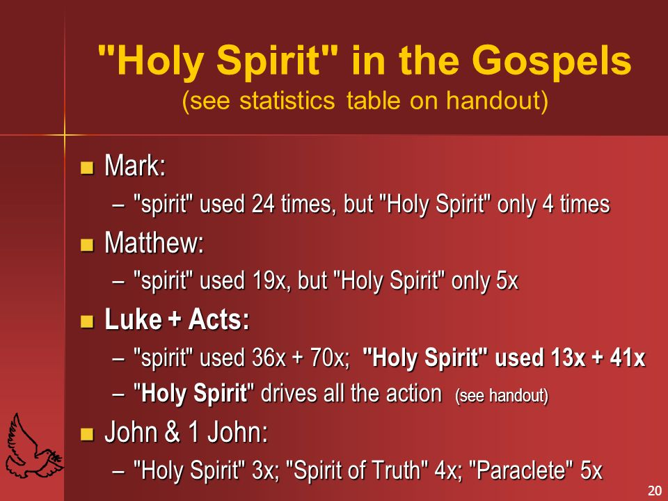 Holy Spirit in the Gospels (see statistics table on handout)