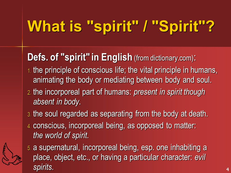 What is spirit / Spirit Defs. of spirit in English (from dictionary.com):