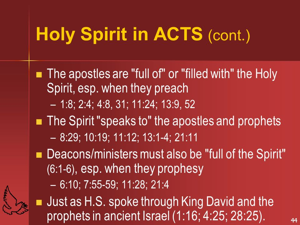 Holy Spirit in ACTS (cont.)