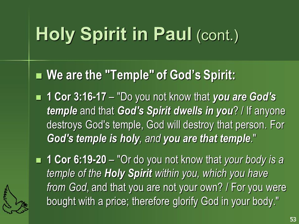 Holy Spirit in Paul (cont.)