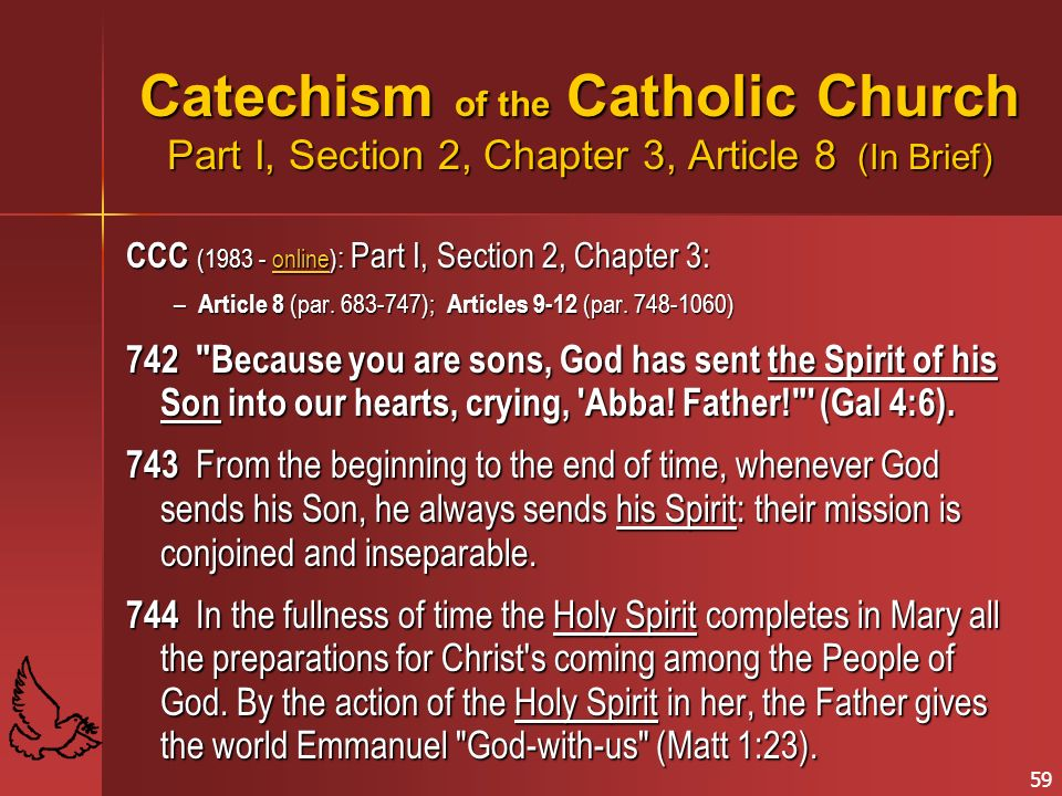 Catechism of the Catholic Church Part I, Section 2, Chapter 3, Article 8 (In Brief)