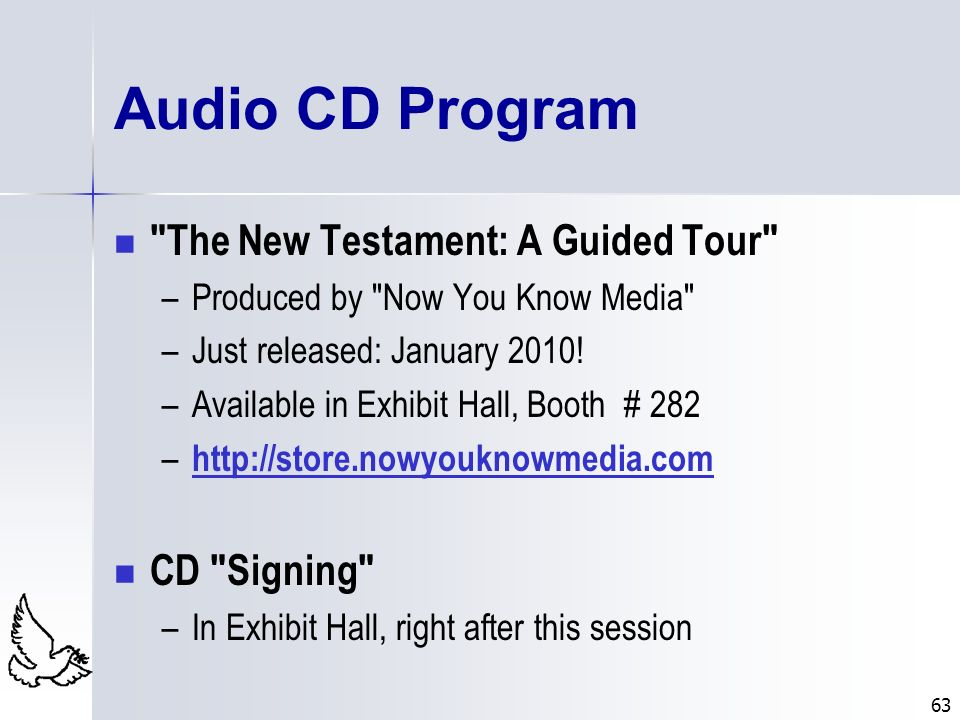 Audio CD Program The New Testament: A Guided Tour CD Signing