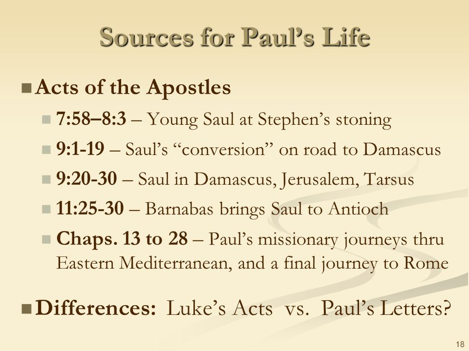 Sources for Paul's Life