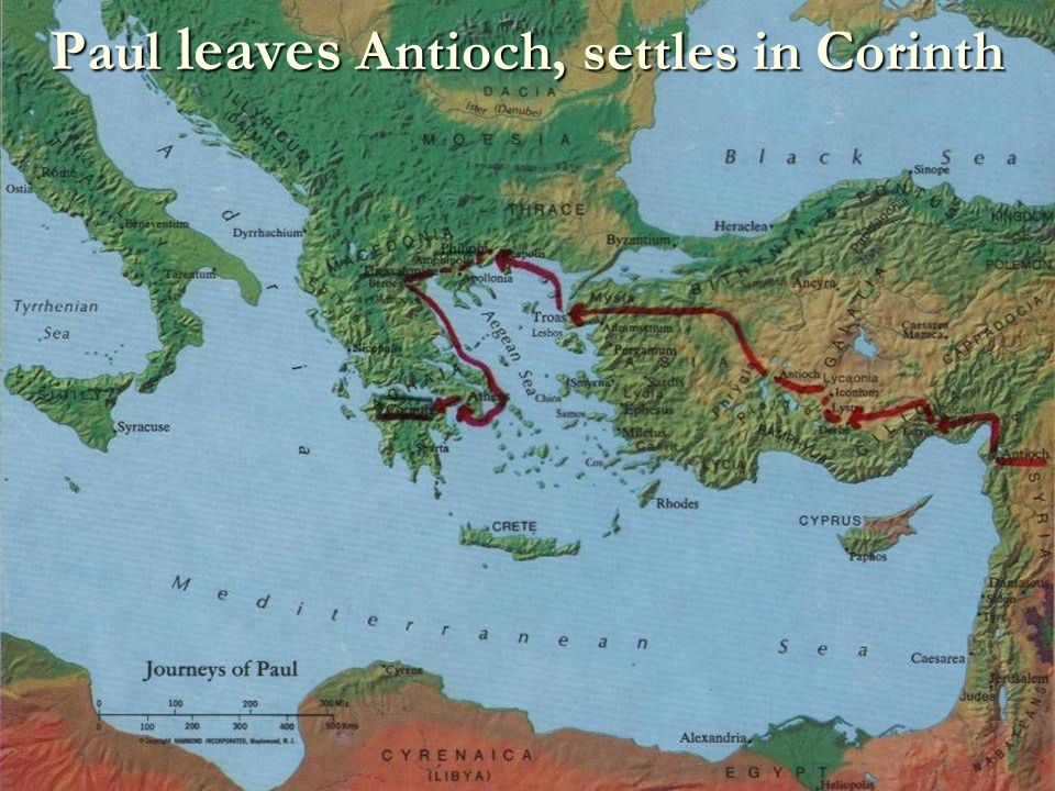 Paul leaves Antioch, settles in Corinth