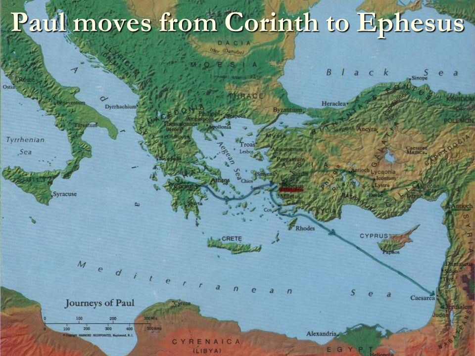 Paul moves from Corinth to Ephesus