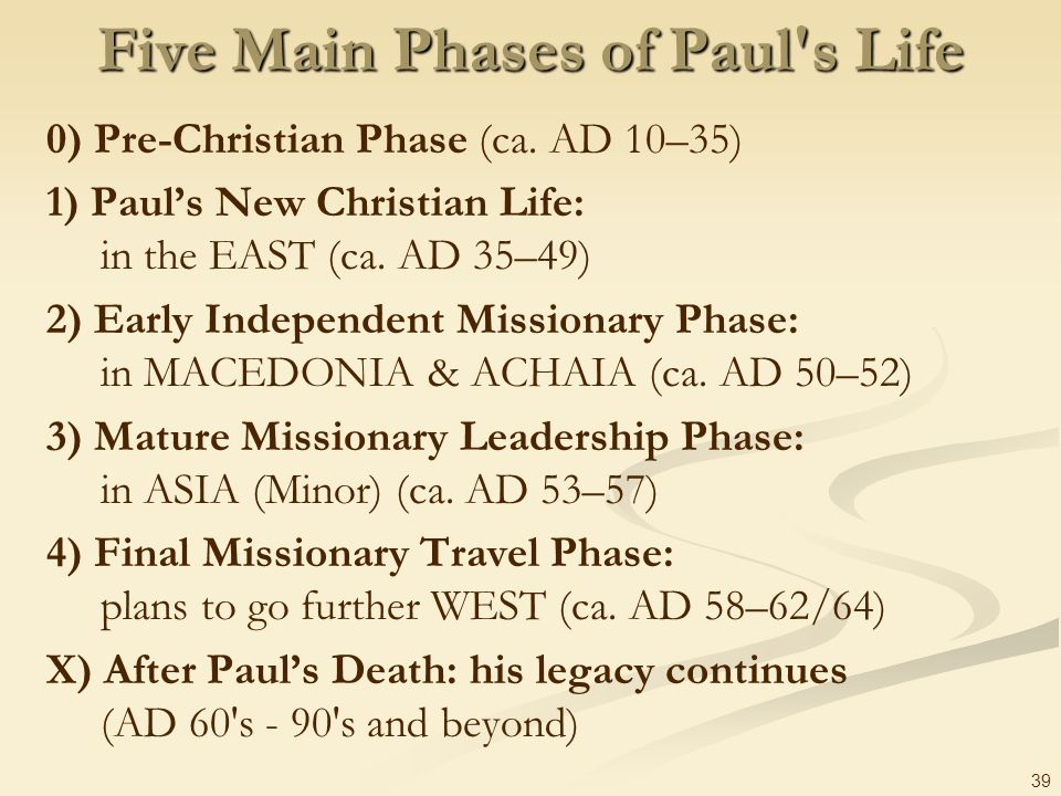 Five Main Phases of Paul s Life