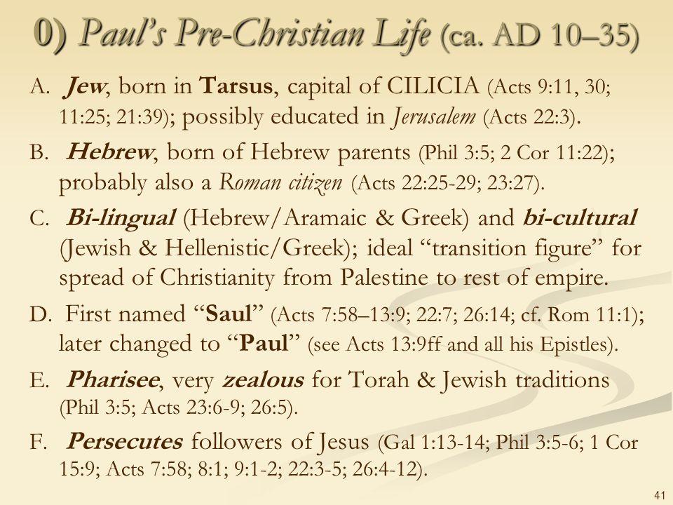 0) Paul's Pre-Christian Life (ca. AD 10–35)