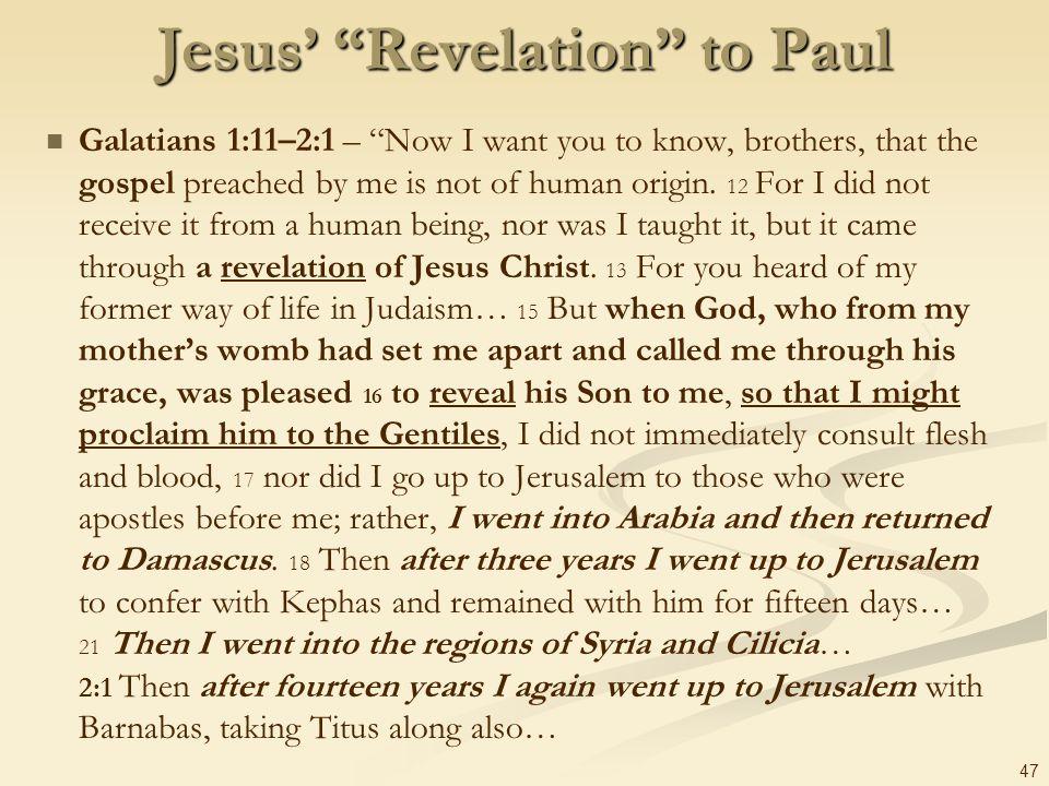 Jesus' Revelation to Paul