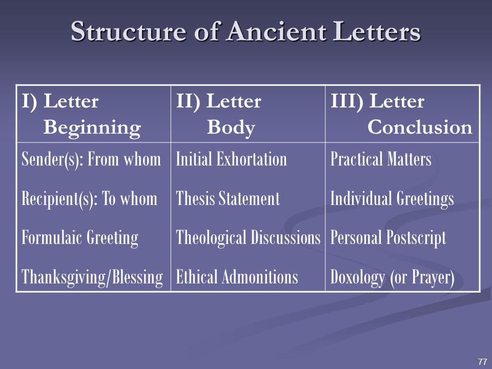 Structure of Ancient Letters