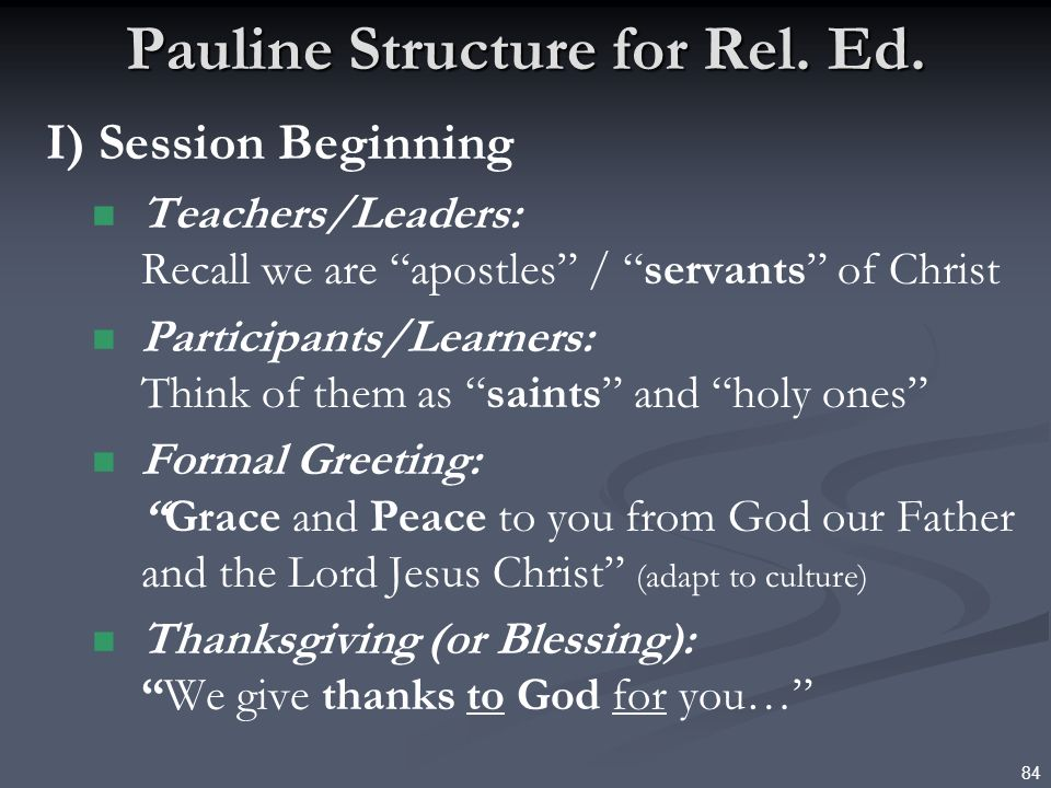 Pauline Structure for Rel. Ed.