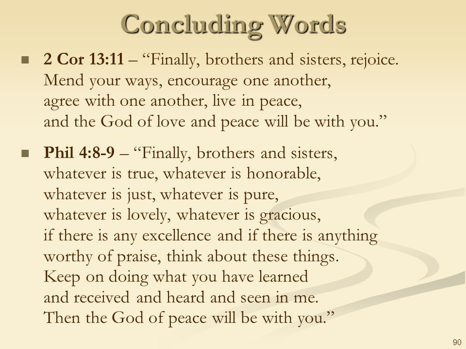 Concluding Words