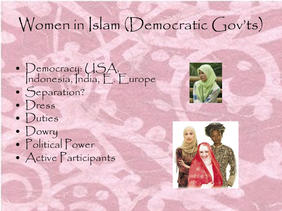 Women in Islam (Democratic Gov'ts)
