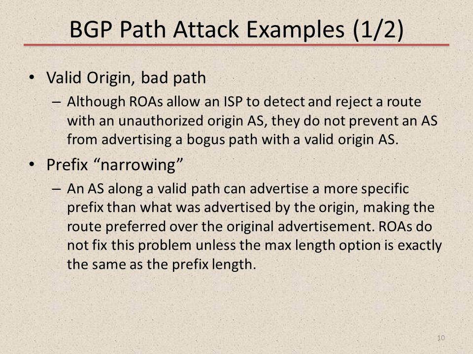 BGP Path Attack Examples (1/2)