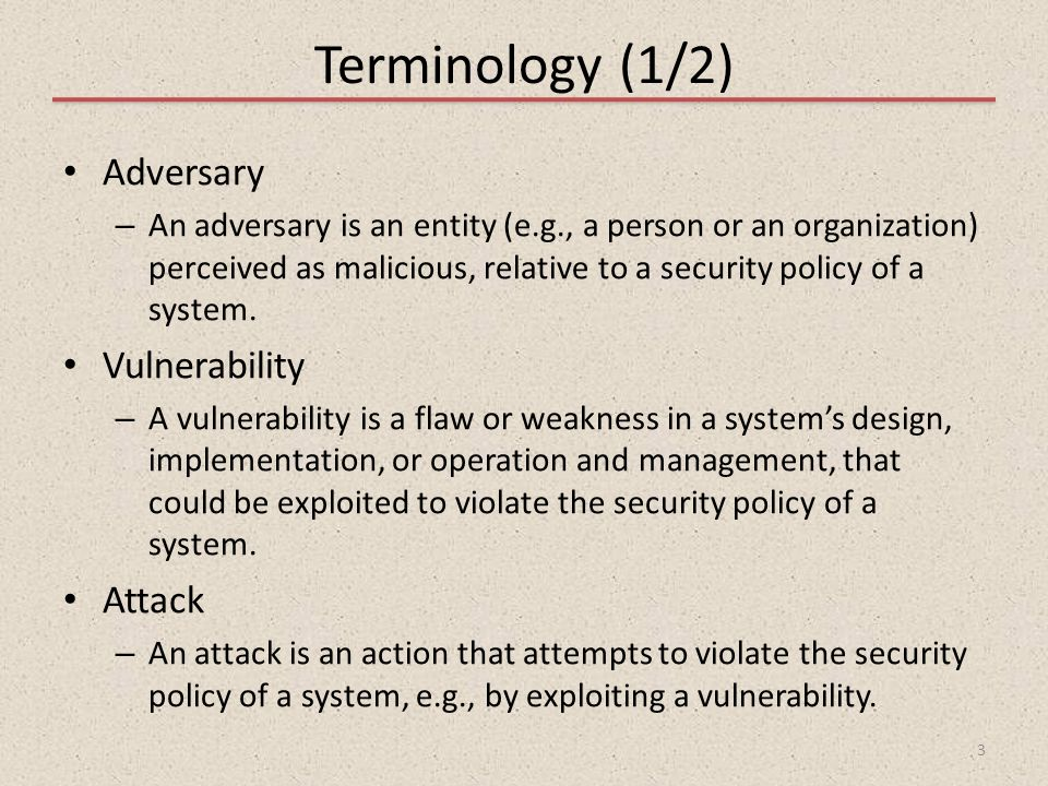 Terminology (1/2) Adversary Vulnerability Attack