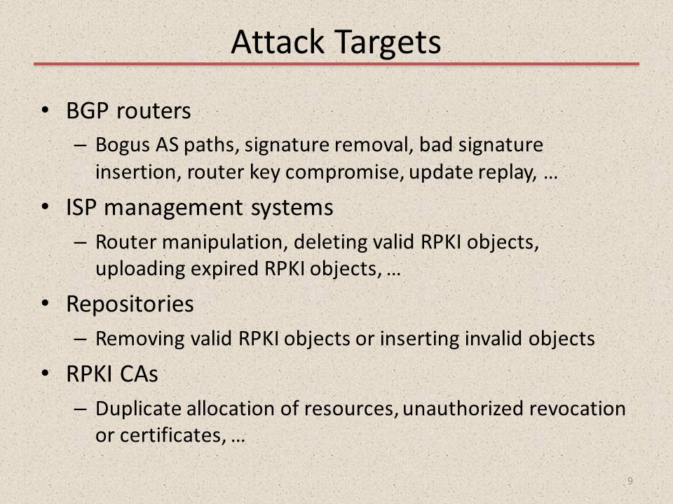Attack Targets BGP routers ISP management systems Repositories