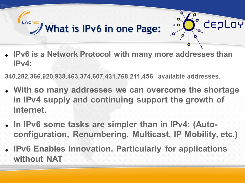 What is IPv6 in one Page: IPv6 is a Network Protocol with many more addresses than IPv4: