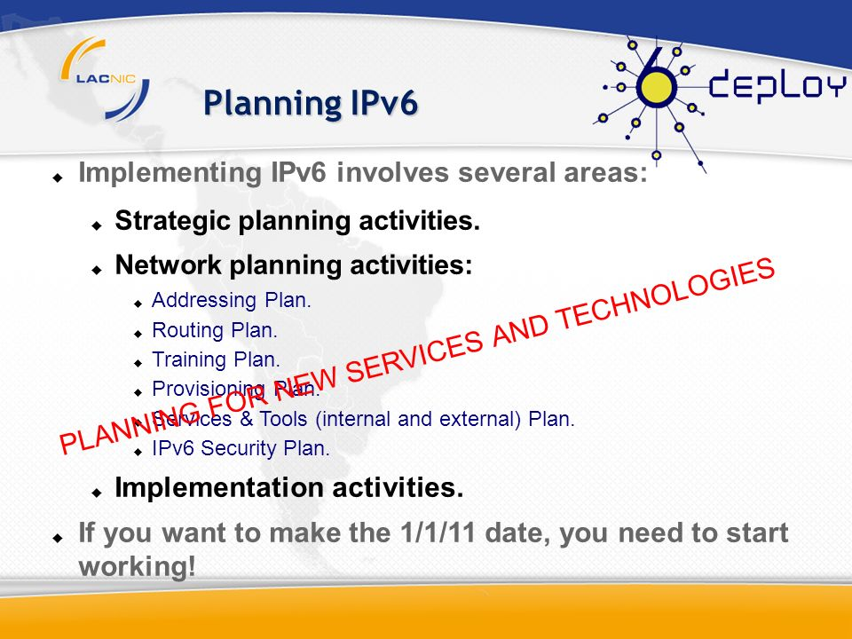 Planning IPv6 Implementing IPv6 involves several areas: