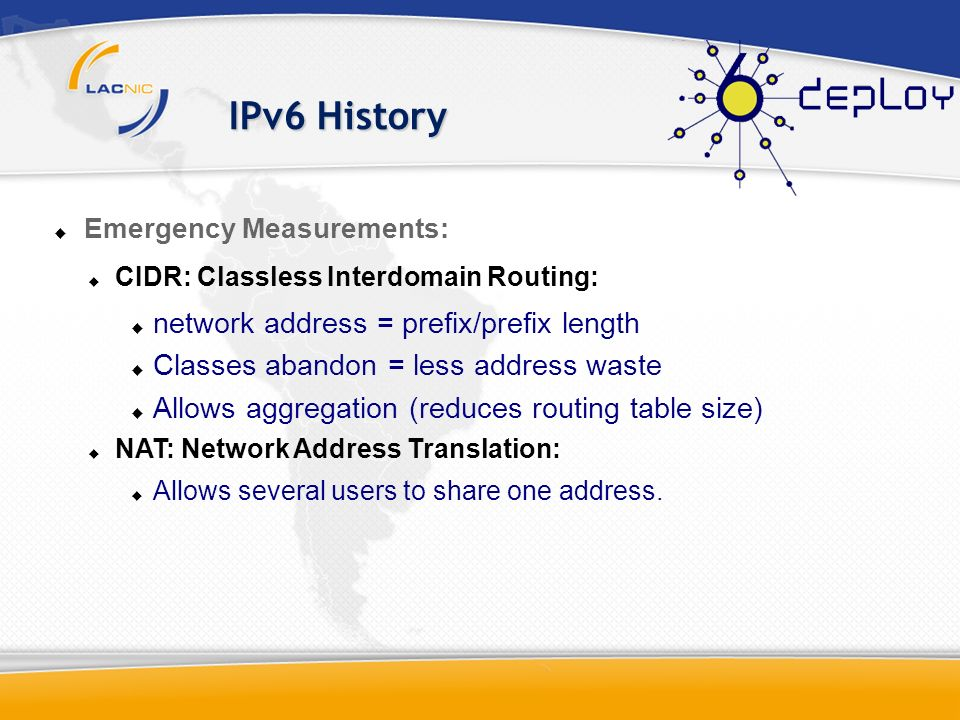 IPv6 History network address = prefix/prefix length