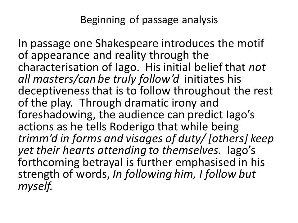 othello passage analysis Online study guide for othello: advanced, critical approaches language in othello.