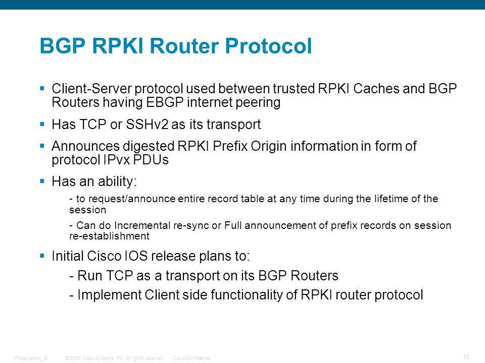 BGP RPKI Router Protocol