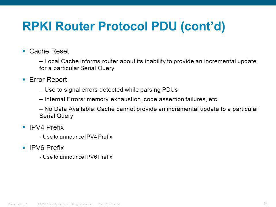 RPKI Router Protocol PDU (cont'd)