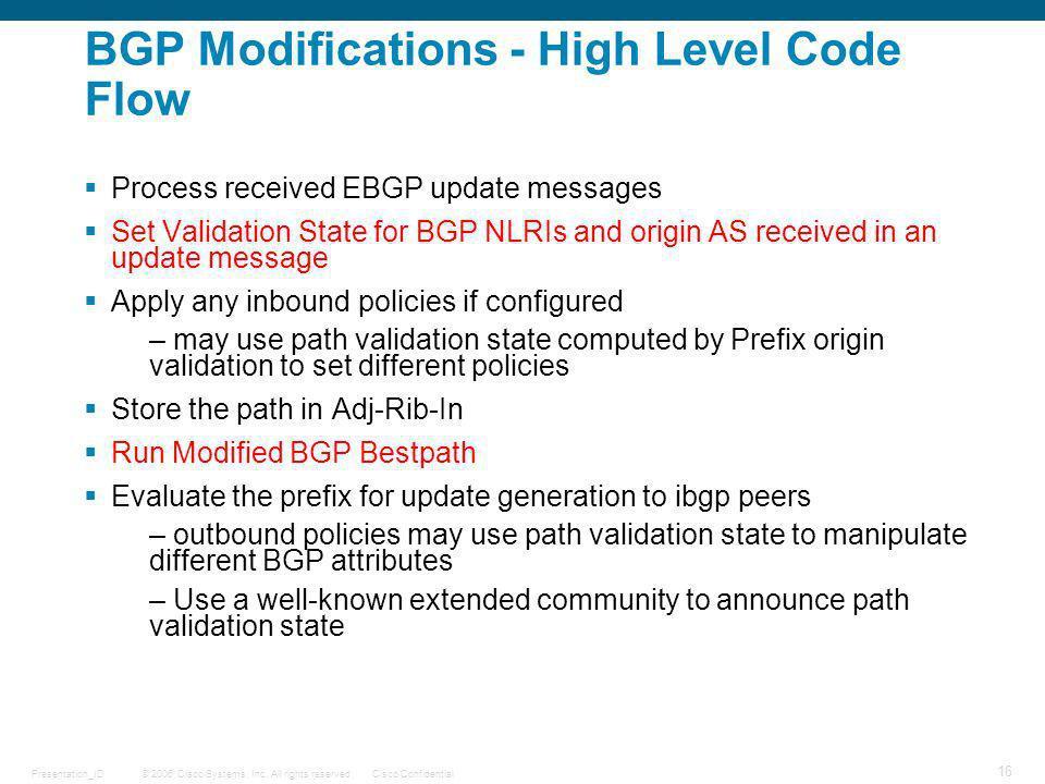 BGP Modifications - High Level Code Flow