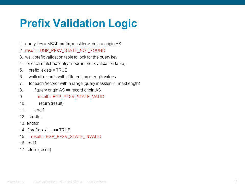 Prefix Validation Logic