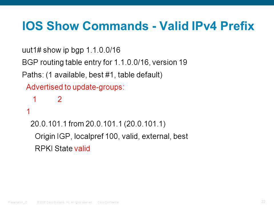IOS Show Commands - Valid IPv4 Prefix