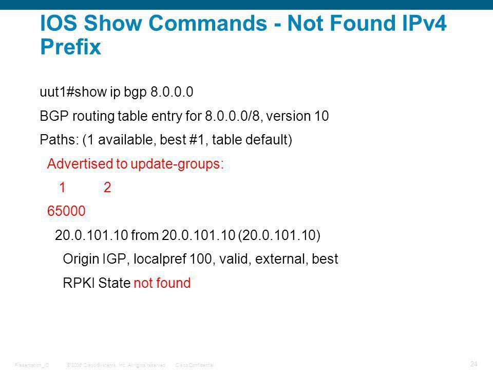 IOS Show Commands - Not Found IPv4 Prefix