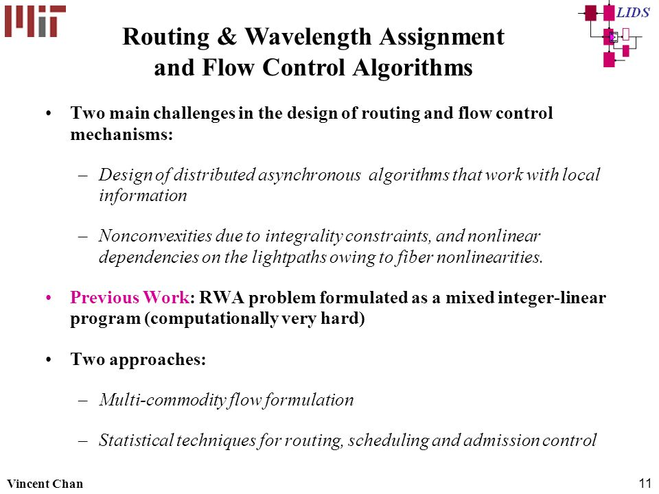 Routing & Wavelength Assignment and Flow Control Algorithms