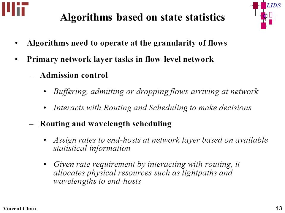 Algorithms based on state statistics