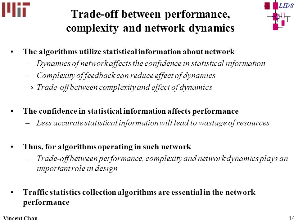Trade-off between performance, complexity and network dynamics