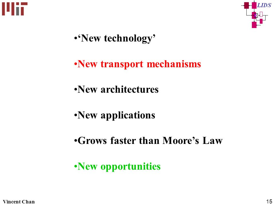 New transport mechanisms New architectures New applications