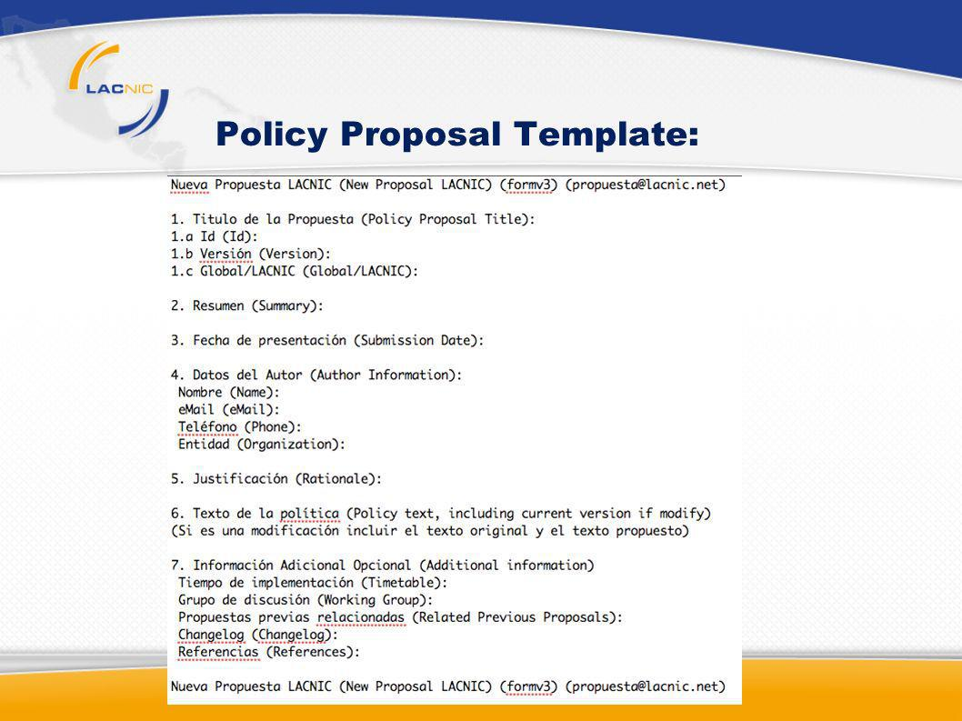 Policy Proposal Template: