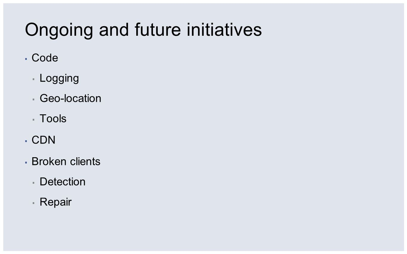 Ongoing and future initiatives