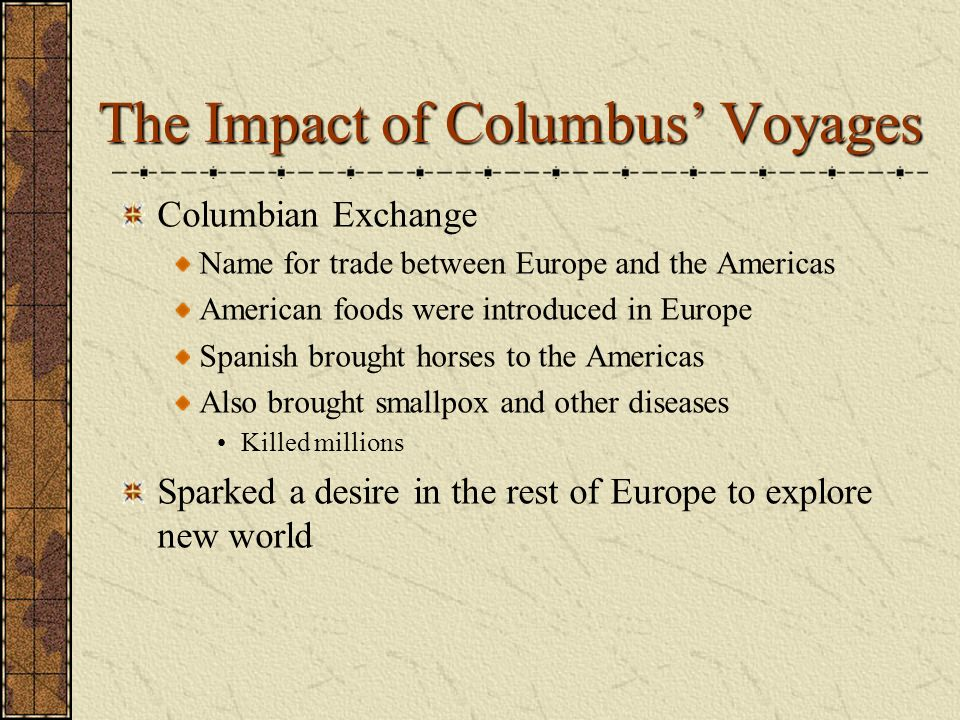 the impact of the columbus discovery of america to the american history Columbus, the indians and the 'discovery' of america in his history of early virginia, american slavery columbus, the indians, and.
