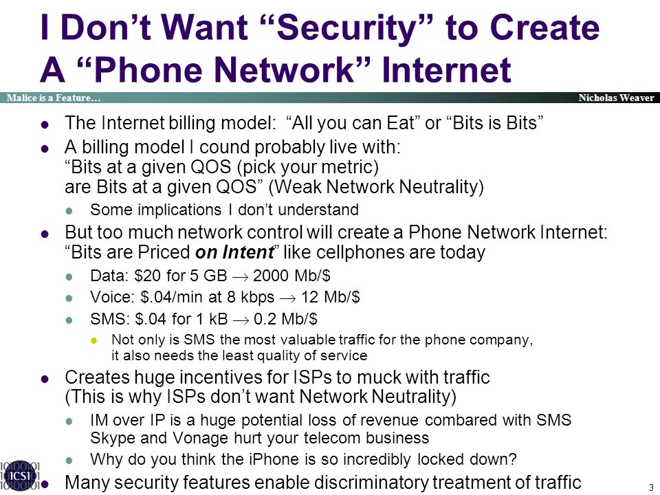 I Don't Want Security to Create A Phone Network Internet