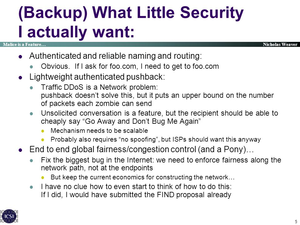 (Backup) What Little Security I actually want: