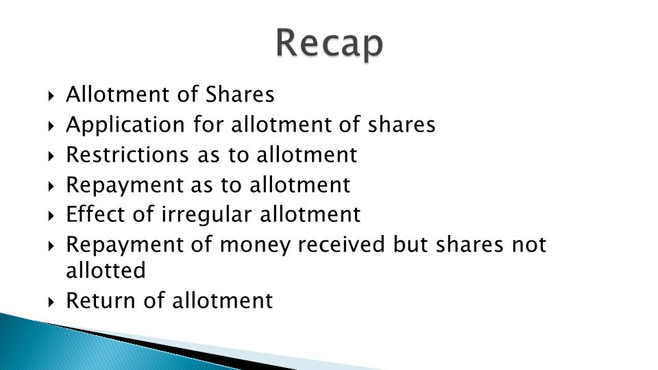 allotment of shares Your fact-sheet the takeovers code and share allotments having new  shares allotted by the company this fact-sheet explains the takeovers code in.
