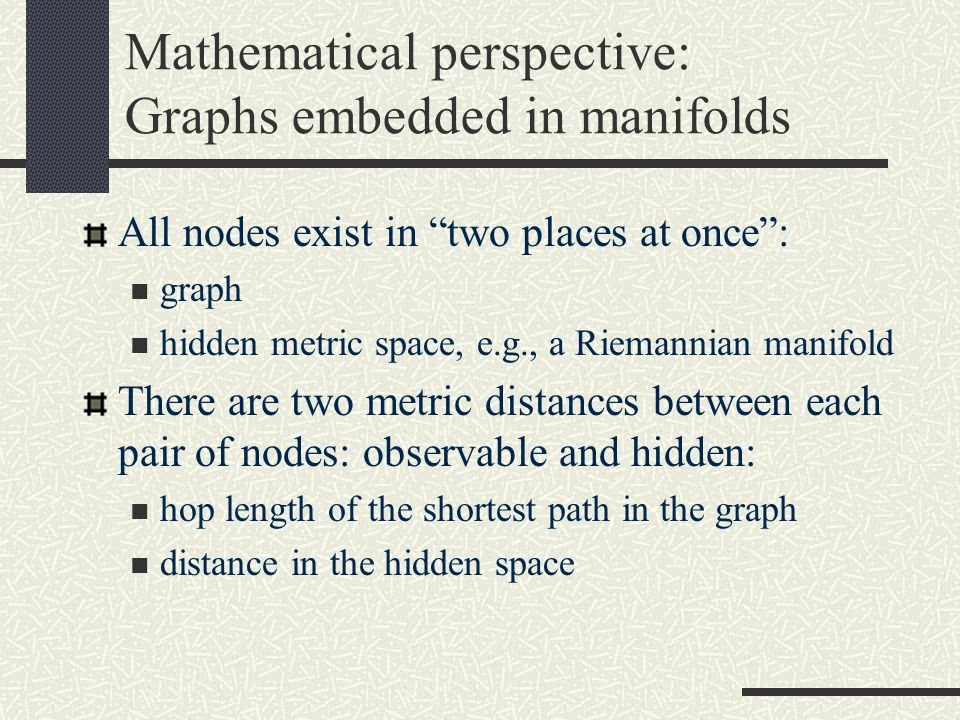 Mathematical perspective: Graphs embedded in manifolds