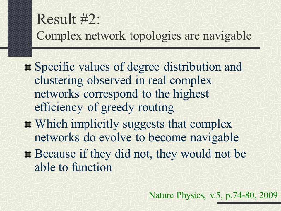 Result #2: Complex network topologies are navigable