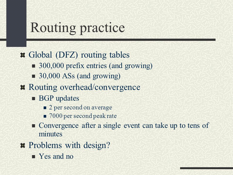 Routing practice Global (DFZ) routing tables