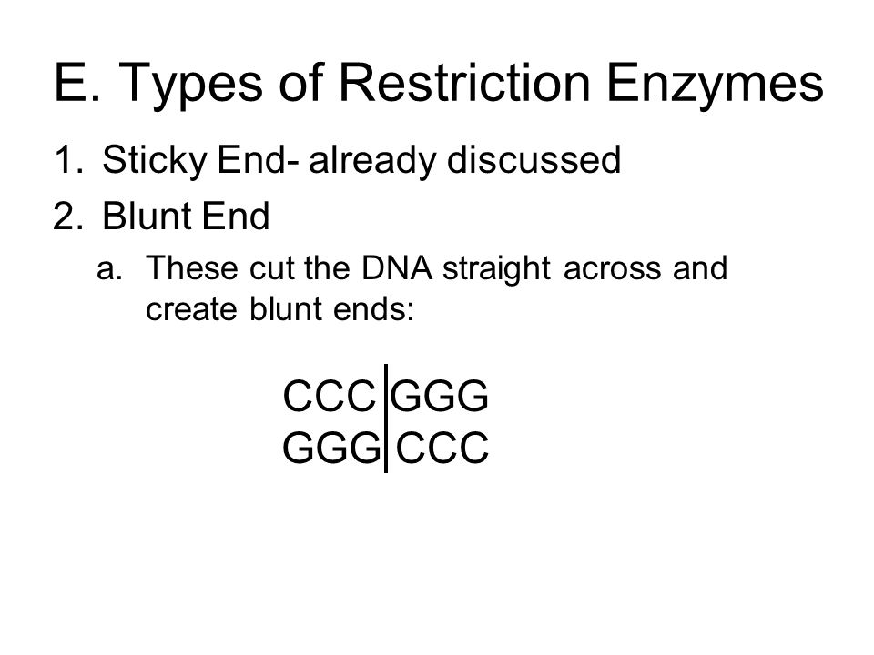 E. Types of Restriction Enzymes