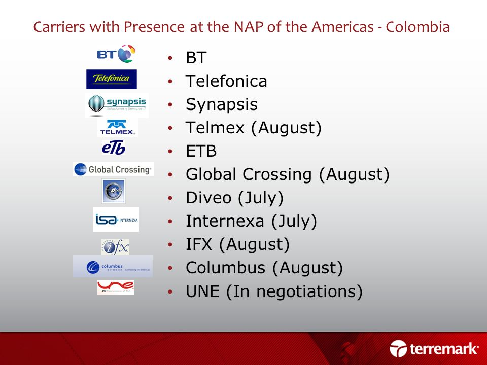 Carriers with Presence at the NAP of the Americas - Colombia