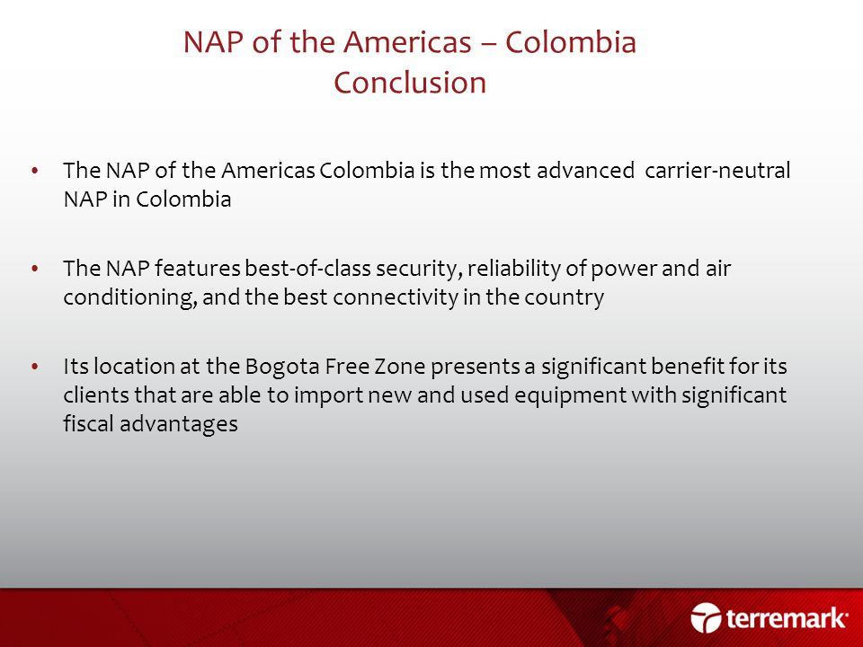 NAP of the Americas – Colombia Conclusion