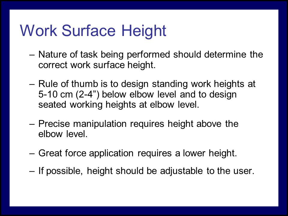 Engineering anthropometry and work space design ppt for Office design rules of thumb